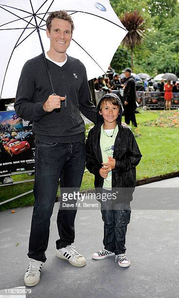 British rower James Cracknell and son Croyde attend a preparty celebrating the UK Premiere of CARS 2 at Whitehall Gardens on July 17 2011 in London...