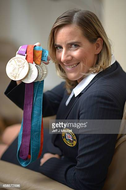 British rower Katherine Grainger CBE poses with her Olympic medals on September 20 in Edinburgh Scotland Grainger won gold in the Double Sculls at...
