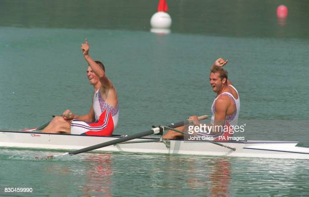 British rowers Matthew Pinsent and Steven Redgrave raising their arms after winning the gold medal in the coxless pairs in the Barcelona 22/9/00 At...