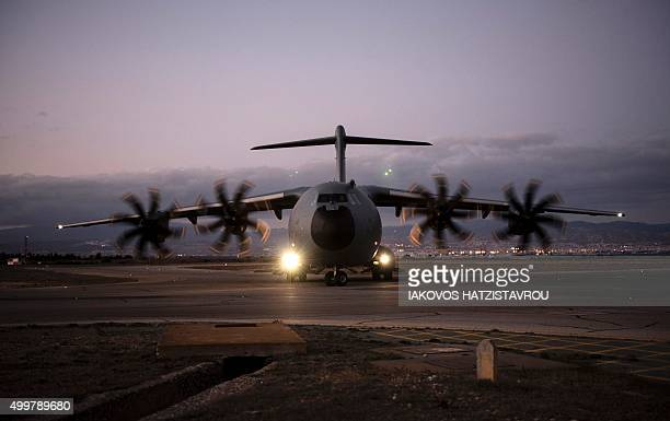TOPSHOT British Royal Air Force Airbus A400M atlas aircraft is seen on the tarmac at the British airbase at Akrotiri near Cyprus' second city of...