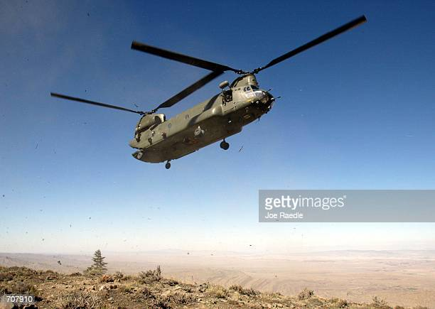 British Royal Air Force chinook helicopter prepares to land during Operation Ptarmigan April 17 2002 in Eastern Afghanistans Ginger Valley About 500...