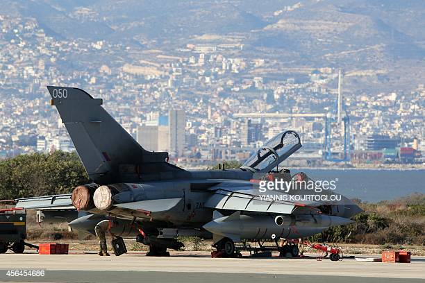 A British Royal Air Force Tornado fighter jet is seen at the Akrotiri airbase near the Cypriot port city of Limassol on October 1 2014 British...