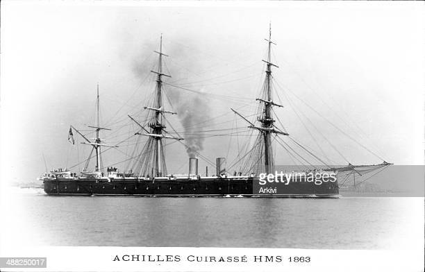 British Royal Navy Battleship Cruiser HMS Achilles at sea ca 1863