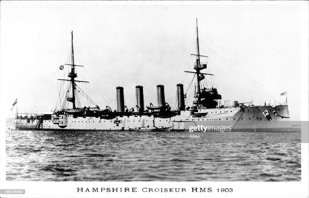 British Royal Navy Battleship Cruiser HMS Hampshire Croiseur at sea ca 1903