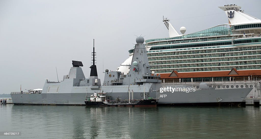 British Royal Navy destroyer HMS Daring the first of the Royal Navy's new Type 45 destroyers is seen docked in Port Klang outside Kuala Lumpur on...