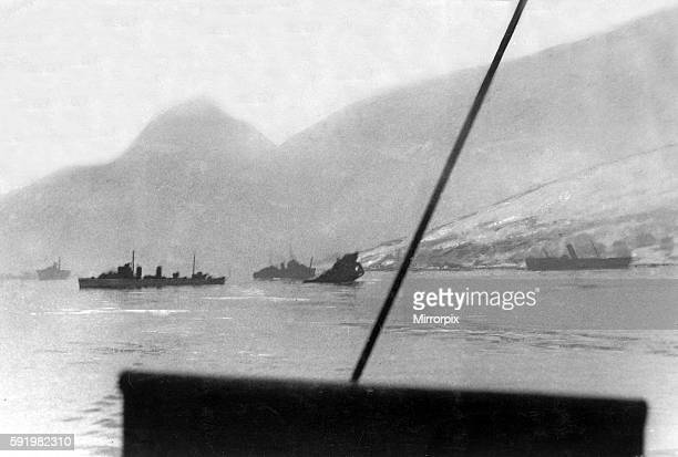 British Royal Navy ships HMS Cossack and HMS Forester with a German transport ship sunk during an attack by the Second Destroyer flotilla at the...