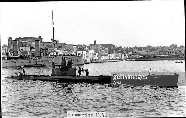 British Royal Navy Submarine HMS H 4 anchoring at the naval port in Moudros ca 1916