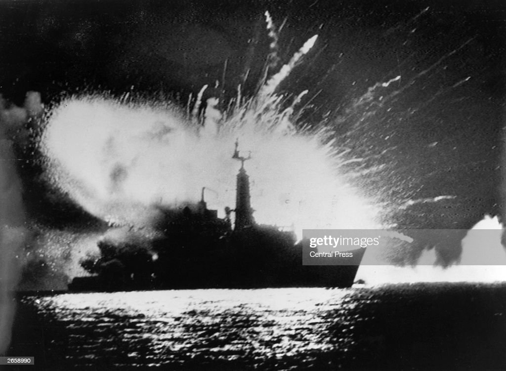 British Royal Navy frigate HMS Antelope explodes in the bay of San Carlos off East Falkland during the Falklands War.
