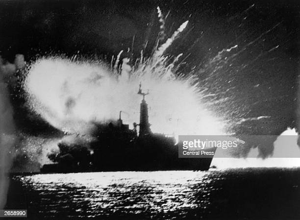 British Royal Navy Type 21 frigate HMS Antelope explodes in San Carlos Water off East Falkland after attacks by the Argentine Air Force during the...