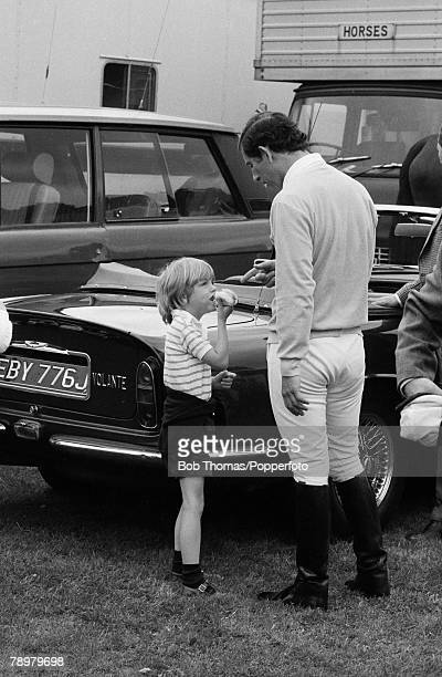 British Royalty Ascot England Charity Showjumping Event May 1981 Prince Charles talks to a young Tom Parker Bowles son of Camilla Parker Bowls and...