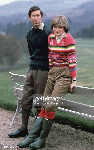 British Royalty Balmoral Scotland 6th May 1981 Prince Charles and his fiancee Lady Diana Spencer seen here on the estate at Craigowen Lodge