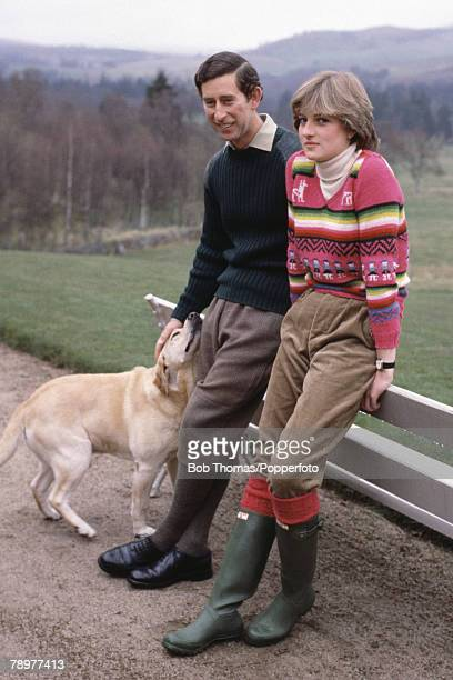 British Royalty Balmoral Scotland 6th May 1981 Prince Charles and his fiancee Lady Diana Spencer together with their dog Harvey rest by a bench