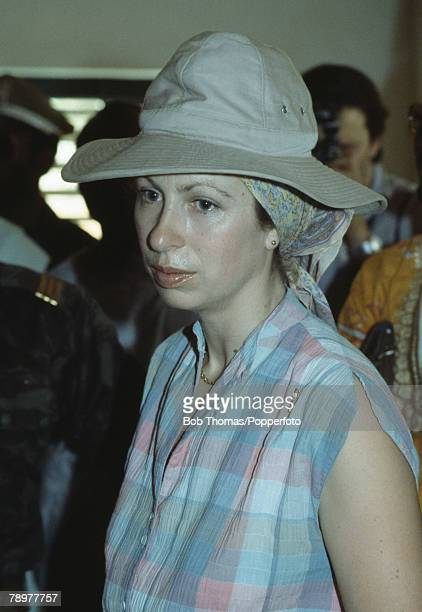 British Royalty Banjul The Gambia Africa February 1984 Princess Anne wearing a large safari style sun hat during a tour for Save the Children Fund
