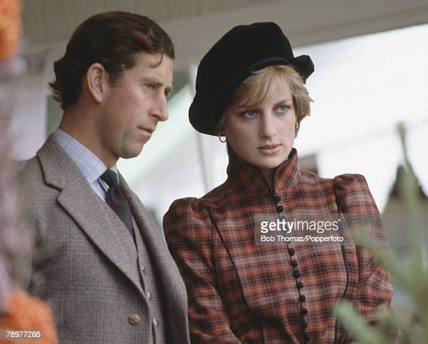 British Royalty Braemar Games Scotland Prince Charles and Princess Diana watch the games