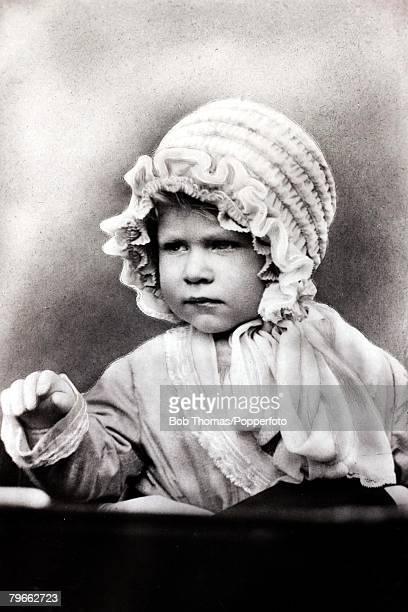 British Royalty circa 1927 HRHPrincess Elizabeth wearing a cute bonnet the daughter of The Duke and Duchess of York