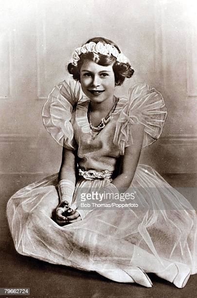 British Royalty circa 1932 HRHPrincess Elizabeth daughter of The Duke and Duchess of York pictured in ballet outfit