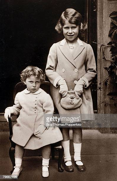 British Royalty circa 1932 HRHPrincess Elizabeth daughter of The Duke and Duchess of York pictured with her younger sister Princess Margaret Rose