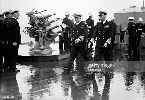 British Royalty England August 1939 HMKing George VI is pictured inspecting the fleet at Weymouth Dorset
