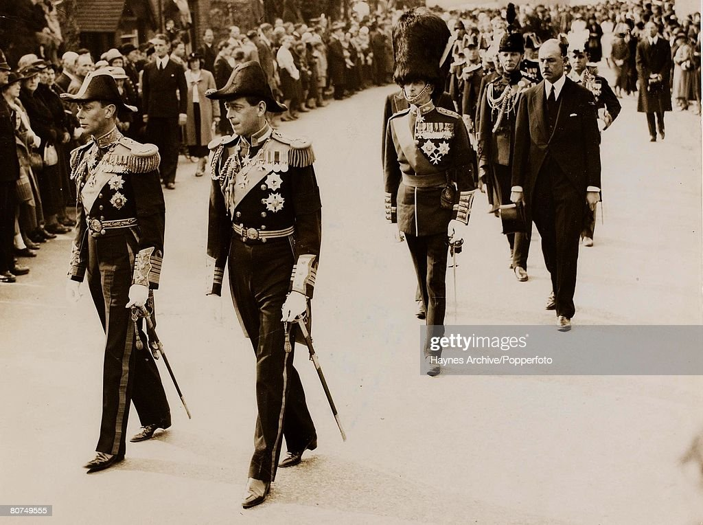 British Royalty England King George VIleft and the Duke of Kent walk together at the funeral of the Marquis of Milford Haven in London 1938