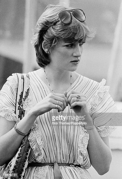 British Royalty England May 1981 Lady Diana Spencer watching Prince Charles play polo