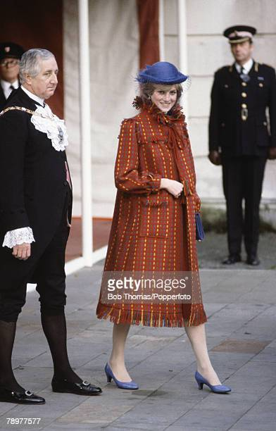 British Royalty Guildhall London England 5th November 1981 Princess Diana visiting the Guildhall after announcing her first pregnancy