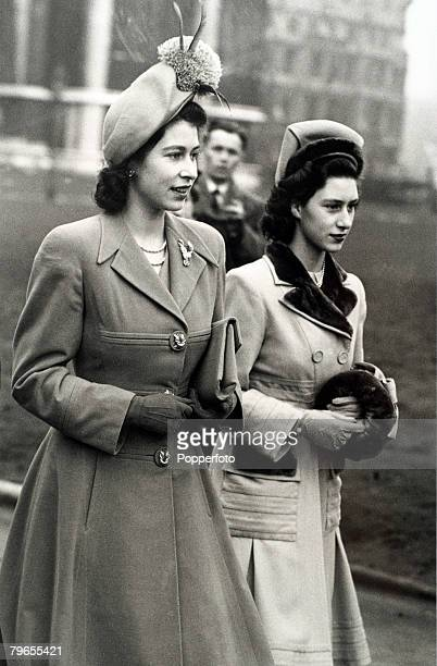 British Royalty London England 10th February 1948 Princess Elizabeth and Princess Margaret arrive at St Margarets Westminster for a society wedding