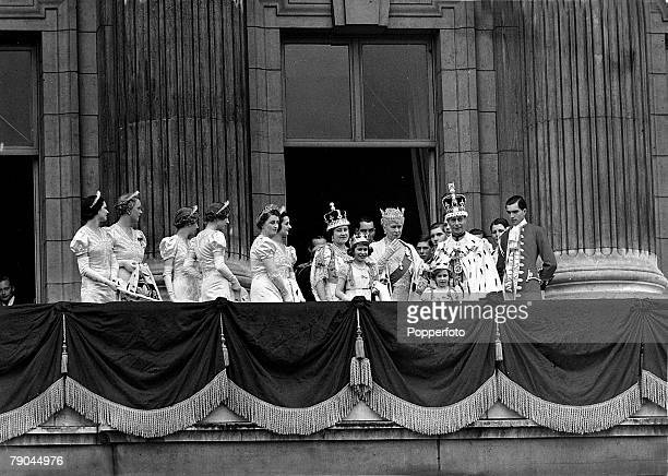 British Royalty London England 12th May 1937 The Coronation of King George VI and Queen Elizabeth shows the scene on the balcony of Buckingham Palace...