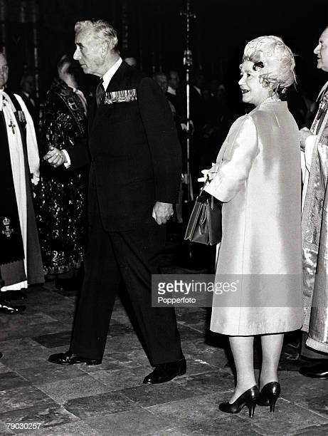 British Royalty London England 1st May 1971 HM Queen Elizabeth the Queen Mother and Admiral of the Fleet Earl Mountbatten at StGeorge's Chapel...
