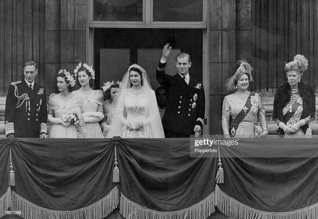 British Royalty, London, England, 20th November 1947, After the wedding of Princess Elizabeth (now the Queen) and Prince Philip, The Duke of Edinburgh, members of the family gather on the balcony of Buckingham Palace, Among those pictured are King George VI, Princess Margaret, Princess Elizabeth, Prince Philip, Queen Elizabeth ( later Queen Mother) and Queen Mary