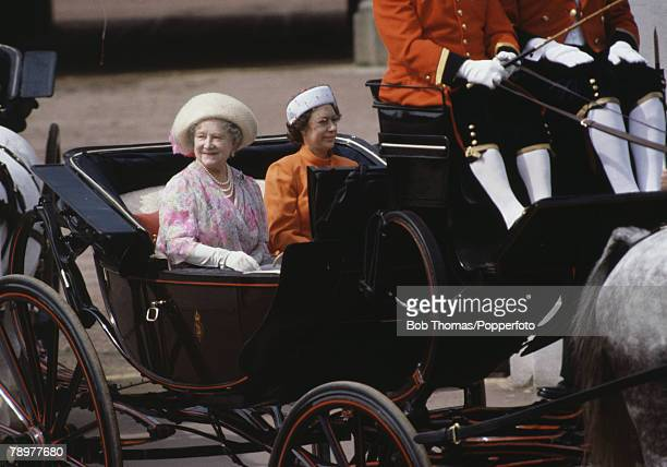 British Royalty London England June 1981 The Queen Mother and Princess Margaret ride in a horse drawn carriage during Trooping of the Colour
