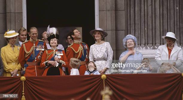 British Royalty London England Members of the Royal family on the balcony of Buckingham Palace during the Trooping of the Colour Including Queen...