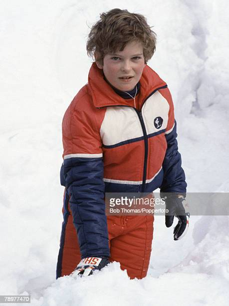 British Royalty Meribel France January 1982 Lord Nicholas of Windsor in the snow while on holiday