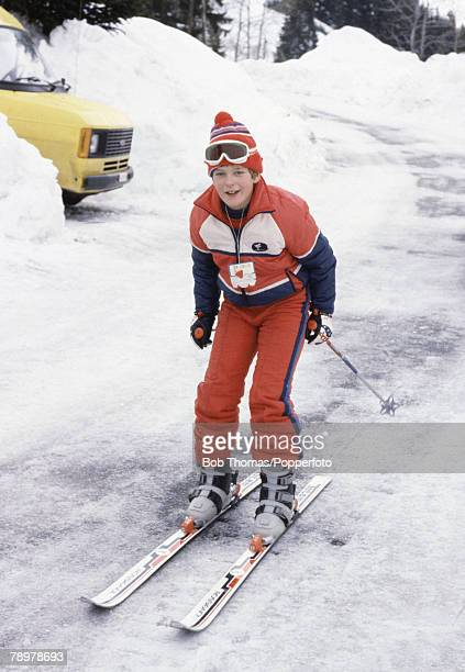British Royalty Meribel France January 1982 Lord Nicholas of Windsor on his skis while on holiday