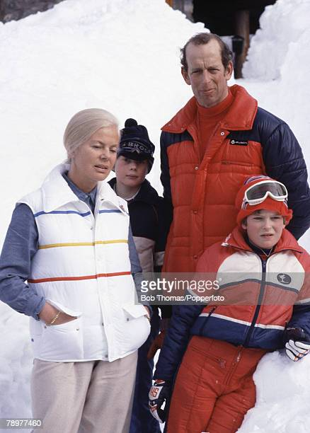 British Royalty Meribel France January 1982 The Duke and Duchess of Kent with their son Lord Nicholas of Windsor and friend pictured while on their...