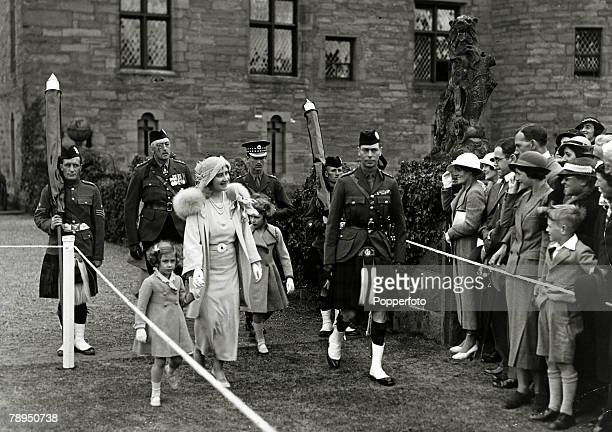 11th July 1935 HRHThe Duke and Duchess of York with their children Princess Margaret left and Princess Elizabeth at Glamis Castle Scotland The Duke...