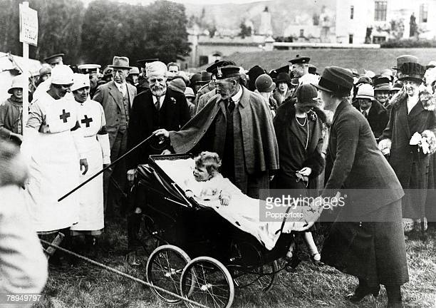 12th September 1927 HMKing George V pictured with his granddaughter Princess Elizabeth at the fete at Balmoral King George V reigned 19101936