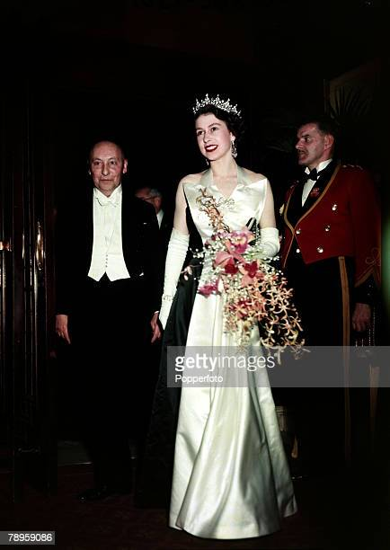 1952 Queen Elizabeth II pictured at a Royal film performance at Leicester Square London