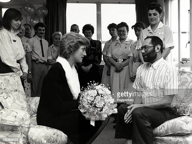 24th February 1989 Diana Princess of Wales chats to an Aids sufferer at a London hospital