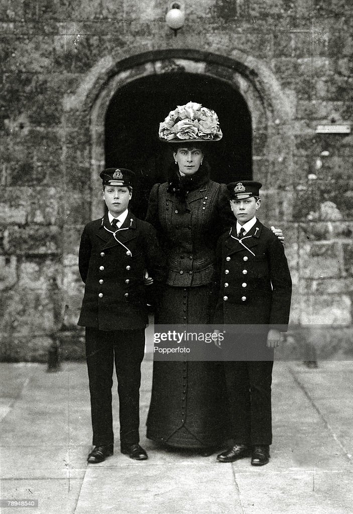 circa 1905 The Princess of Wales later Queen Mary with her sons Prince Edward and Prince Albert