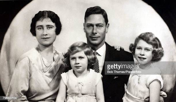 circa 1933 Their Royal Highnesses The Duke and Duchess of York with their children Princess Elizabeth and Princess Margaret