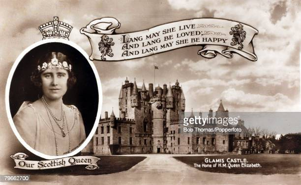 circa 1937 HRH Queen Elizabeth seen with a view of Glamis Castle her Scottish home