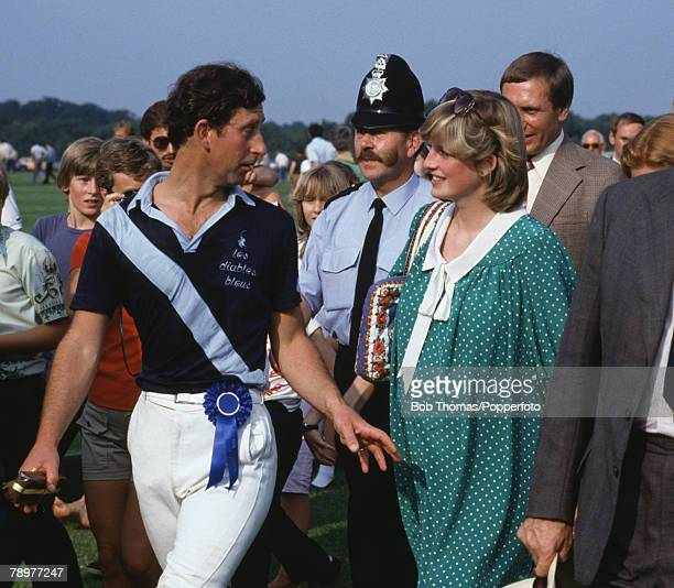 British Royalty Smiths Lawn Windsor England June 6th Prince Charles after playing Polo talks to Princess Diana who is pregnant with Prince William