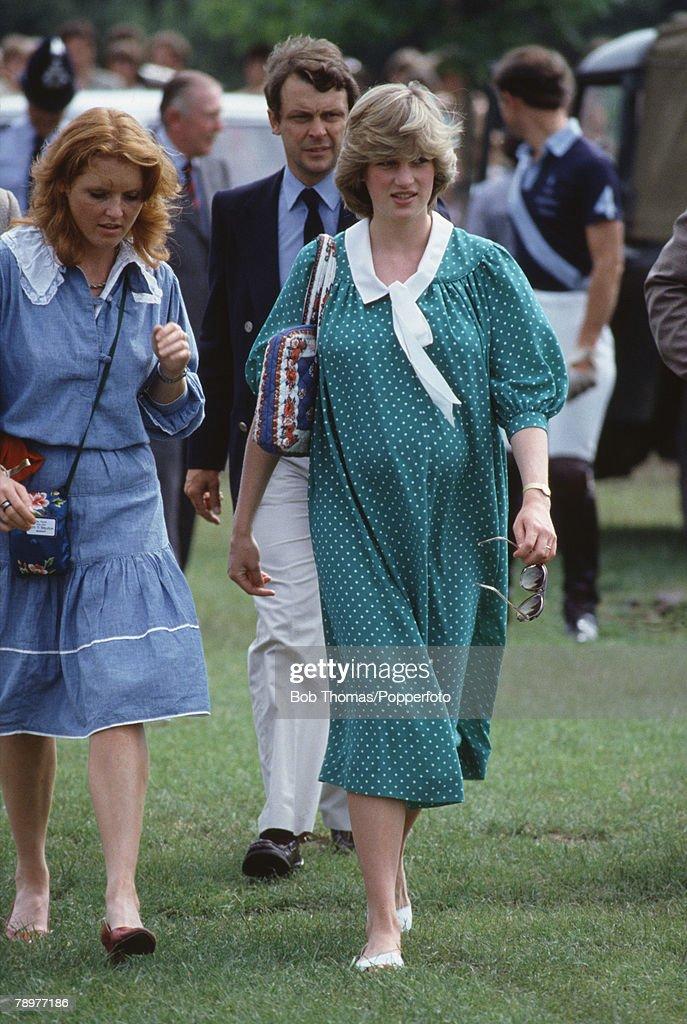 British Royalty, Smiths Lawn, Windsor, England, Polo, Princess Diana, pregnant with Prince William, walks with Sarah Ferguson