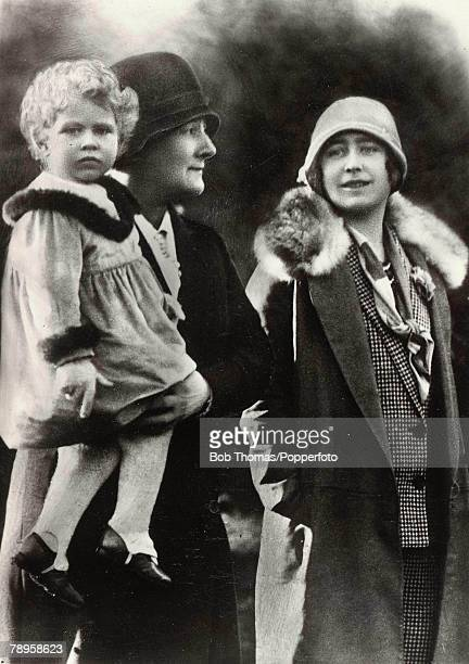 British Royalty The Queen Mother pictured when she was HRH the Duchess of York and her daughter Princess Elizabeth who is held by the nurse 1928