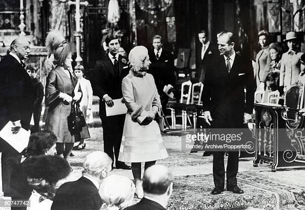 British Royalty Westminster Abbey London England 20th November 1972 HRH The Queen and Prince Philip The Duke of Edinburgh followed by their children...