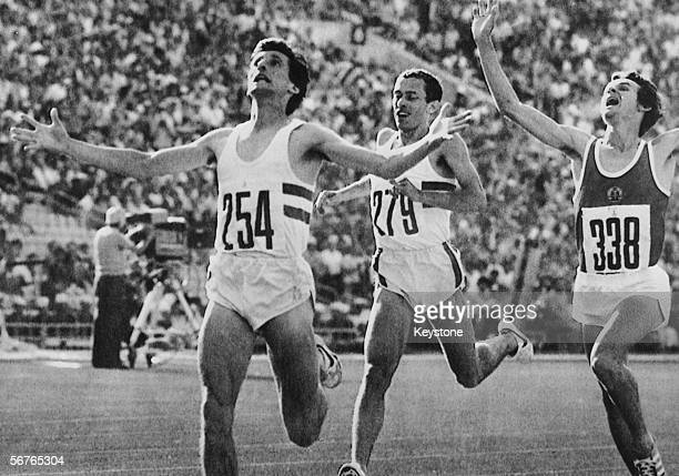 British runner Sebastian Coe wins the 1500 metres final at the Moscow Olympics 1980 East Germany's Jurgen Straub won silver and Steve Ovett of Great...