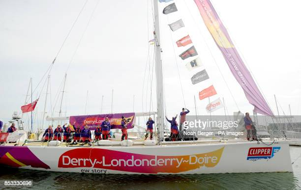 British sailor Andrew Taylor aboard Derry~Londonderry~Doire arrives in San Francisco after racing from China in the Clipper Round the World Yacht...
