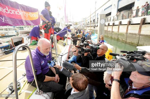 British sailor Andrew Taylor speaks with reporters as the Derry~Londonderry~Doire arrives in San Francisco after racing from China in the Clipper...