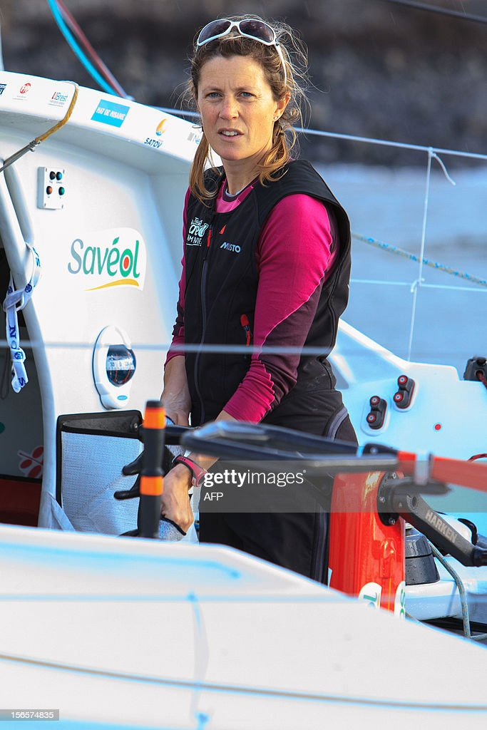 British sailor Samantha Davies arrives on November 17, 2012 on the island of Madeira, Portugal. Davies, who was eliminated from the solo, round-the-world Vendee Globe after the dismasting of her yacht, limped into Madeira on November 17. The 38-year-old, the only woman in the world's most gruelling yacht race, saw her boat dismasted on Thursday evening in strong winds about 130 nautical miles northeast of Madeira, the Portuguese island in the Atlantic Ocean.