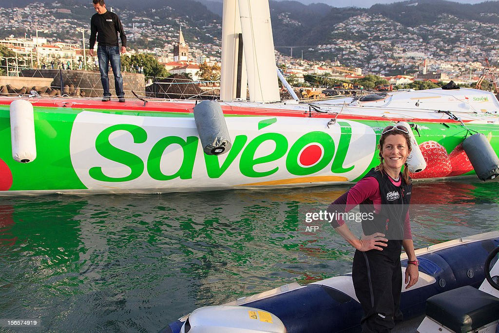 British sailor Samantha Davies smiles on November 17, 2012 after she arrived in Funchal, on the island of Madeira, Portugal. Davies, who was eliminated from the solo, round-the-world Vendee Globe after the dismasting of her yacht, limped into Madeira on November 17. The 38-year-old, the only woman in the world's most gruelling yacht race, saw her boat dismasted on Thursday evening in strong winds about 130 nautical miles northeast of Madeira, the Portuguese island in the Atlantic Ocean. AFP PHOTO / GREGORIO CUNHA